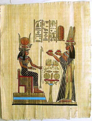 Ägyptisches Bild auf Papyrus Hathor und Nefertari