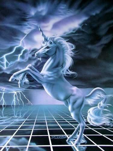 Einhorn im Gewitter Effekt Bild 16x21