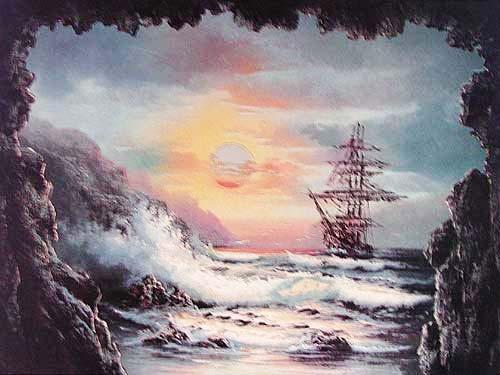 Segelschiff vor einer Bucht Alu Druck