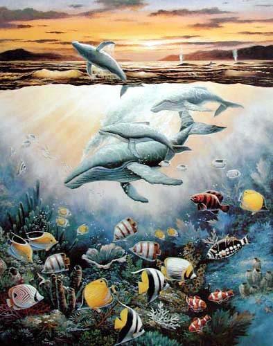 Wale und tropische Fische by Chiu *