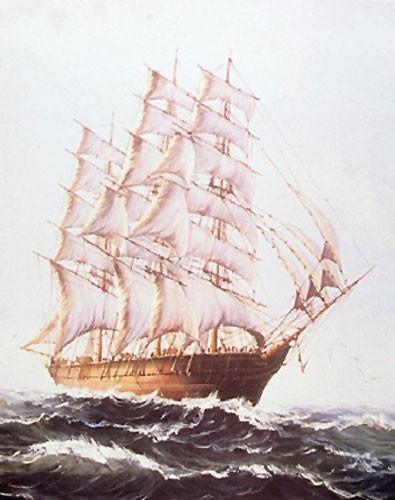 Segelschiff / Drei-Mast-Klipper auf hoher See Poster