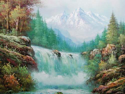 Berglandschaft mit Wasserfall by Michaja
