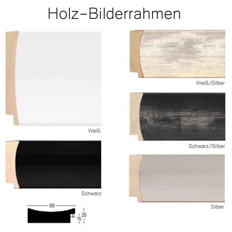 holz bilderrahmen 120x120 cm profil 80 mm in wei schwarz silber. Black Bedroom Furniture Sets. Home Design Ideas