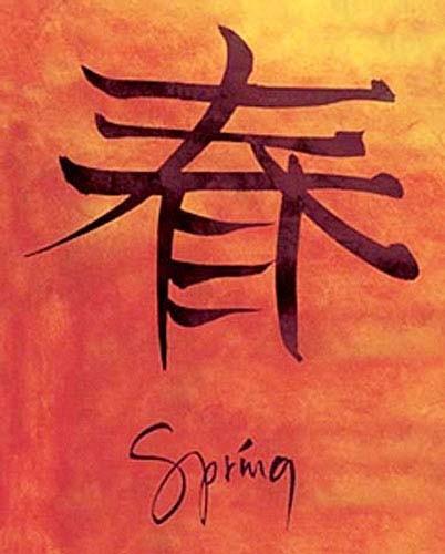 Chinesisches Zeichen für Frühling-Poster