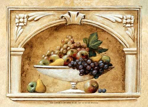 Stilleben mit Weintrauben und Äpfel