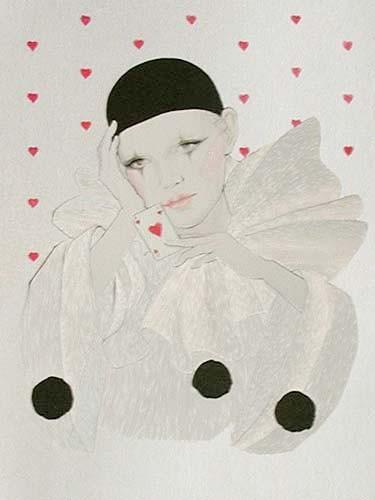 Pierrot und Karte, silber