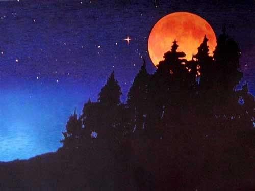 Blutmond, roter Mond Alu Bild