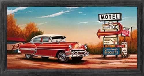 Wandbild roter Chevrolet auf Route 66