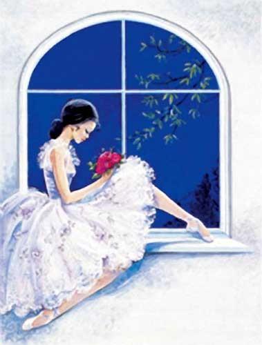Ballerina auf Fensterbank Alu Bild