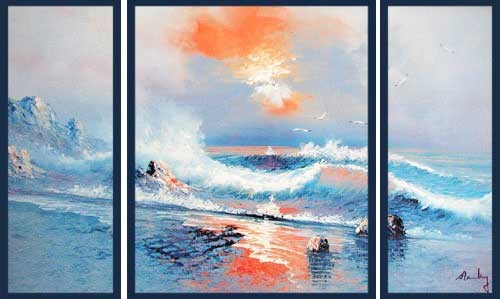 Brandung im Sonnenuntergang, Triptychon Wandbild