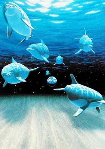 Delphine Fantasy Wasserwelt Alu Bild