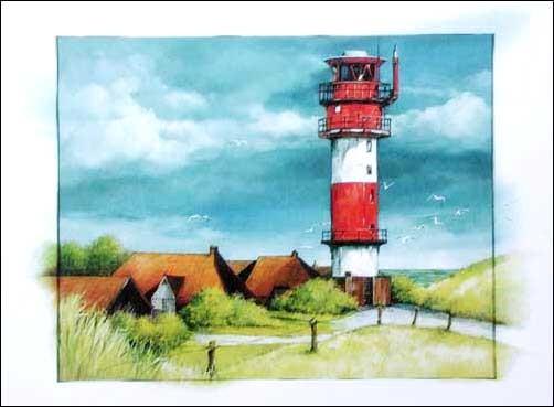 Rot-weißer Leuchtturm rechts Poster