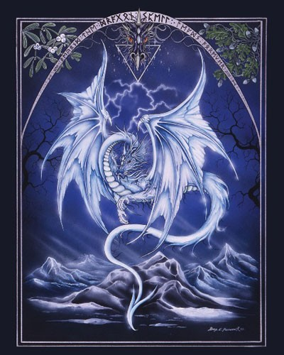 White Dragon/ Weißer Drache Metallic Poster