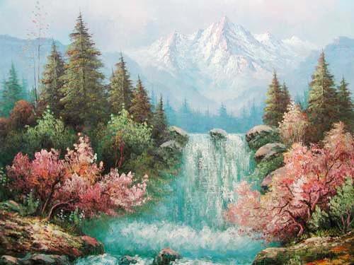 Landschaft und Wasserfall by Michaja