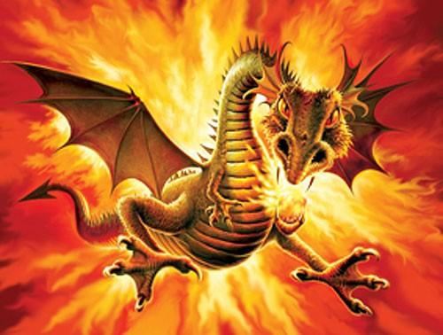 Feuerdrache, Drachen - Angriff Alu Bild