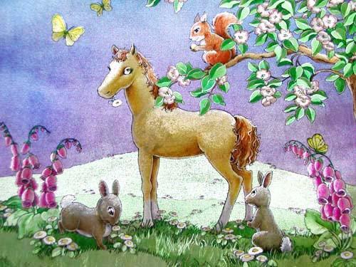 Pferd und Hasen