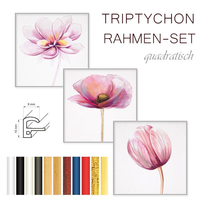 bilderrahmen triptychon 3x 30x30 cm quadratisch f r bilder von. Black Bedroom Furniture Sets. Home Design Ideas