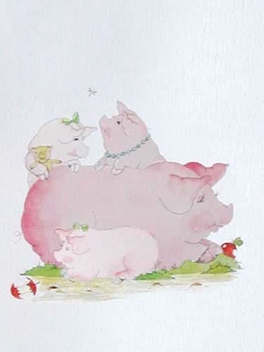 Schweine Alu Bild 16x21 cm
