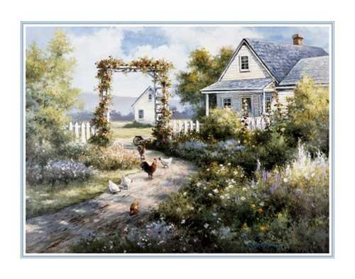 Landhaus mit Hühner Kunstdruck 56x71
