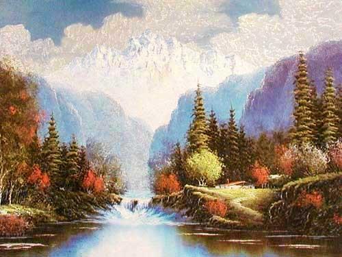 Herbstliche Berglandschaft mit Fluss und kleinem Wasserfall Alubild
