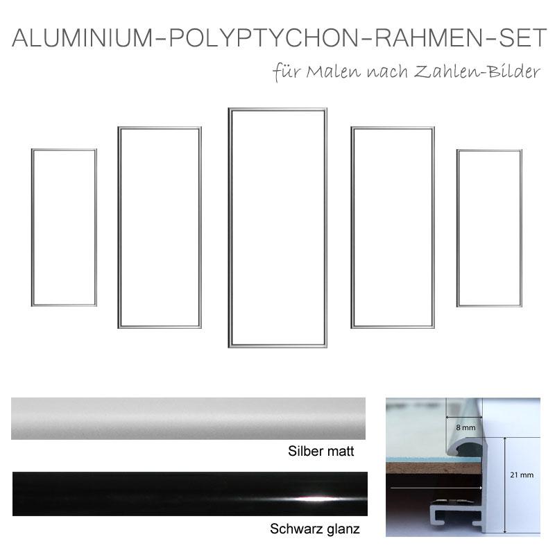 Polyptychon Bilderrahmen aus Aluminium in schwarz oder silber ...
