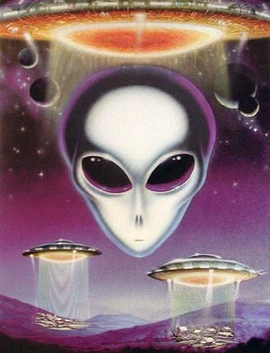 Alien, UFOs Dufex Alubild 16x21 cm Alu Poster