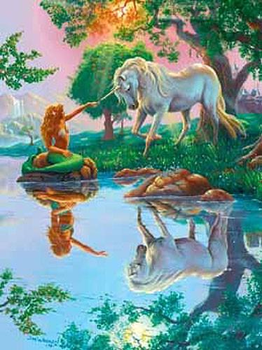 Einhorn und Meerjungfrau Alu Bild