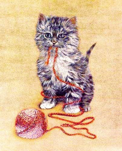 Katze und Wolle, gold