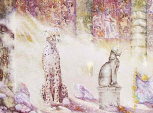 Gepard und Statue