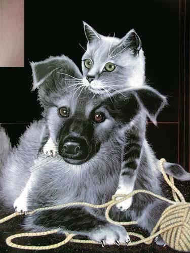 Hund und Katze mit Wolle by H. Villieres