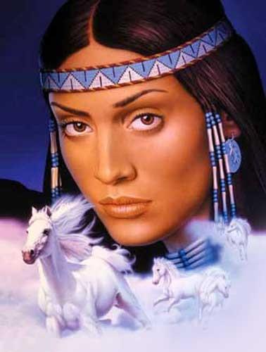 Indianerin und Pferde Bild