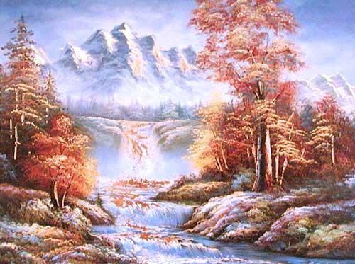 Herbstliche Landschaft mit Fluss Kunstdruck 15x20 cm