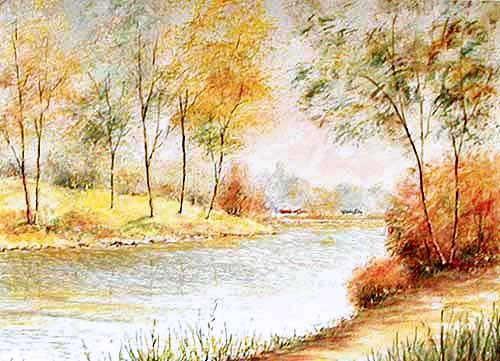 Herbstliche Flusslandschaft, Le Guen Alubild