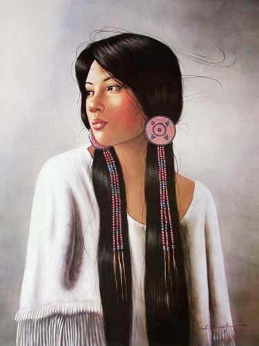 Indianerin mit Perlenschmuck Poster