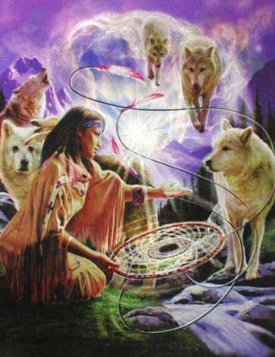Indianerin mit Traumfänger und Wölfen - Alubild