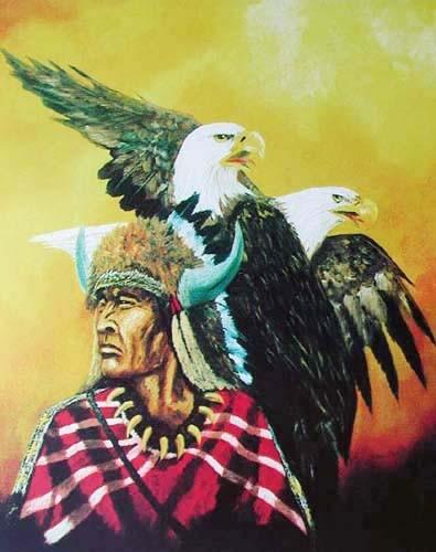Indianer und Weißkopfadler Poster