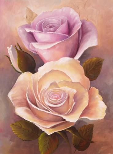 Pinke und gelbe Rosen Kunstdruck