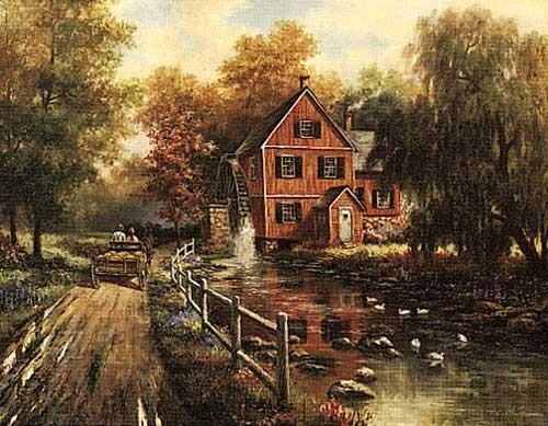 Alte rote Wassermühle, Chiu Kunstdruck 28x35 cm