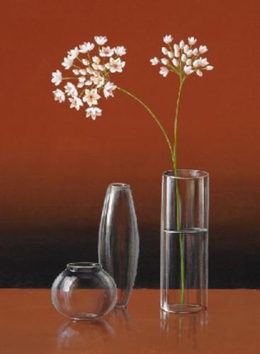 Weiße Blumen und Vasen Poster
