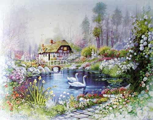 Schwäne im Teich, Orpinas Kunstdruck