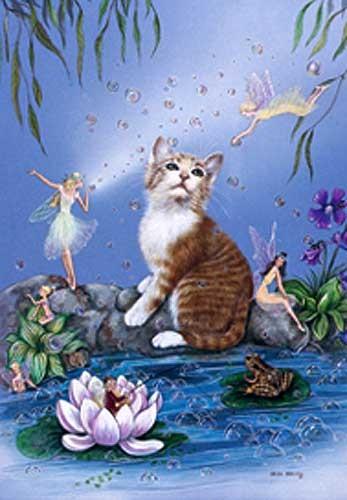 Postkarte Katze und Feen