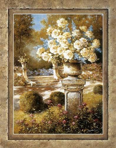 Weiße Rosen auf Podest II Kunstdruck