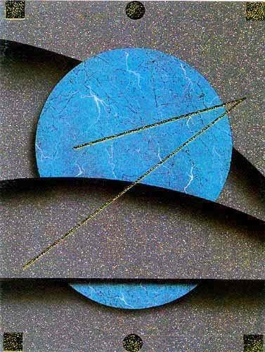 Blauer Kreis mit Abstraktem Hintergrund- Kunstdruck
