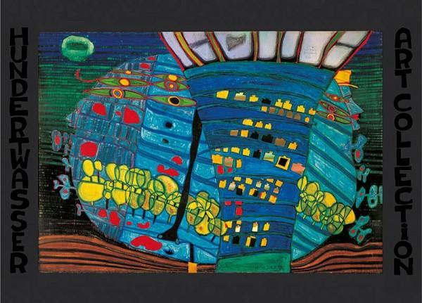 Der Blaue Mond Kunstdruck von Hundertwasser