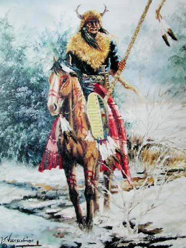 Indianer auf Pferd im Winter by J. Vogtschmidt