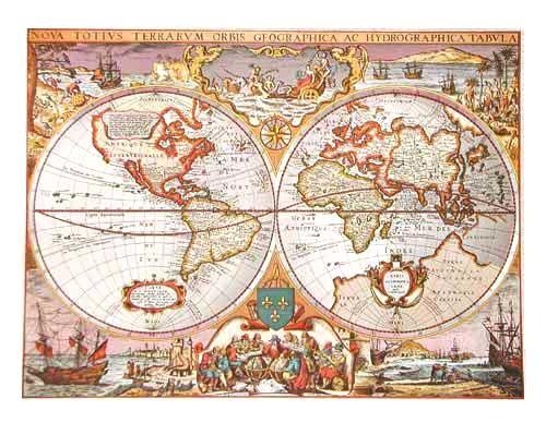 Historische Weltkarte in silberner Farbe, Aluminiumdruck 16x21 cm