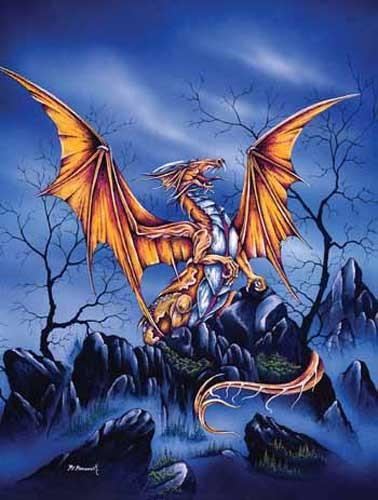 Goldener Drache Alu Bild