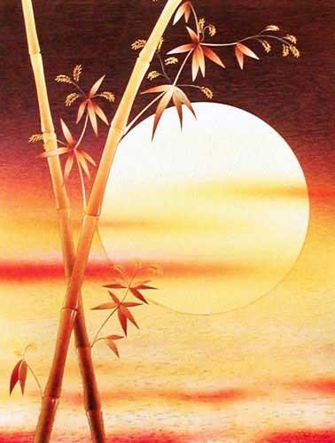 Sonnenuntergang und Bambus