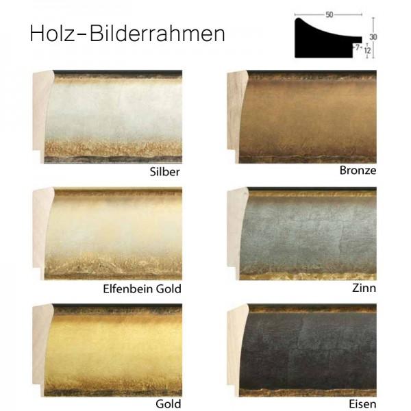 Holz-Bilderrahmen 100x140 cm, silber, elfenbein, gold, bronze, zinn, eisen