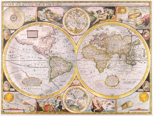 A New and Accurat Map of the World, 1651 - silber